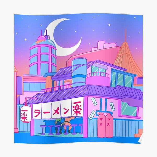 Pastel Village Poster