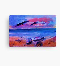 Look what is on the beach, watercolor Canvas Print