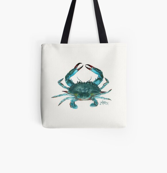 """""""Blue Crab"""" by Amber Marine, watercolor painting, © 2013 All Over Print Tote Bag"""