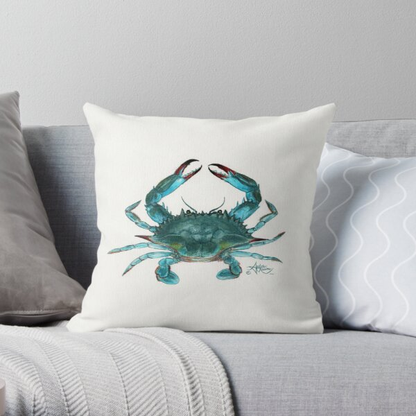 """""""Blue Crab"""" by Amber Marine, watercolor painting, © 2013 Throw Pillow"""