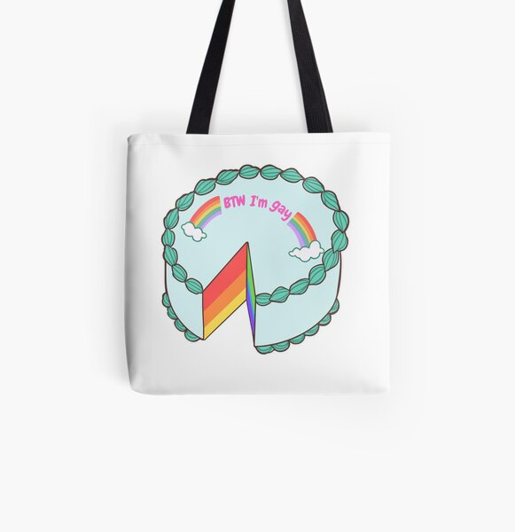 BTW I'm Gay Cake All Over Print Tote Bag