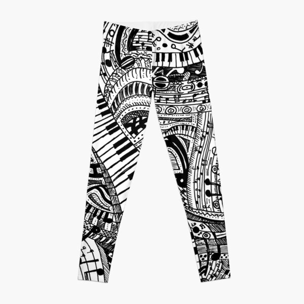 Classical music doodle with piano keyboard Leggings