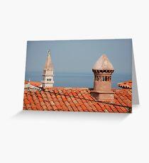 Chimneys in Piran, Slovenia Greeting Card