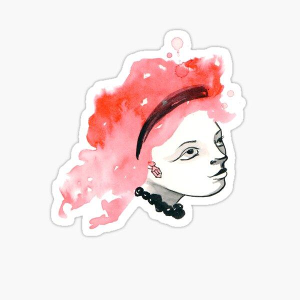 Redhead Watercolor girl Sticker
