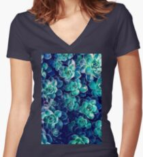 Plants of Blue And Green Women's Fitted V-Neck T-Shirt