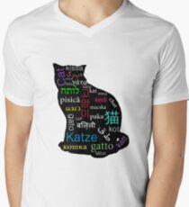 A Cat of Many Languages Men's V-Neck T-Shirt