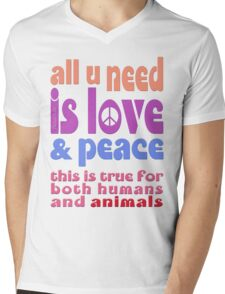 all u need is love & peace - love, peace, rescue, animal rights, vegan Mens V-Neck T-Shirt