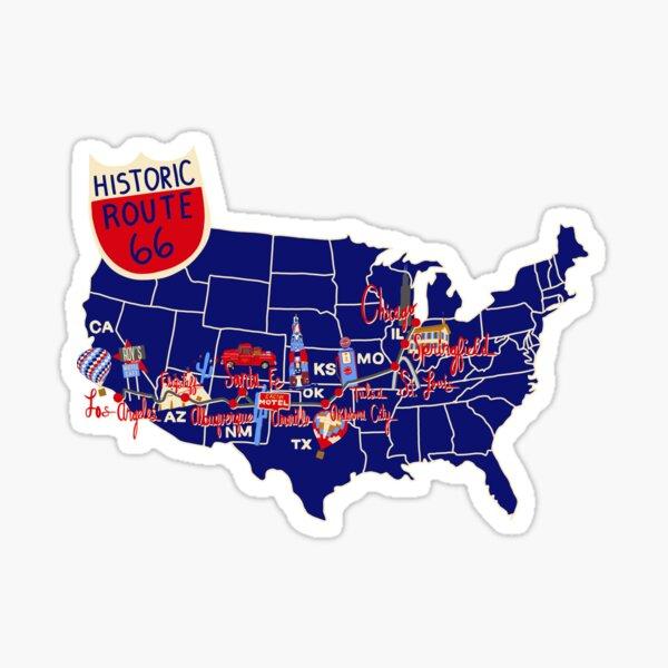 Carte historique de la Route 66, bleu Sticker