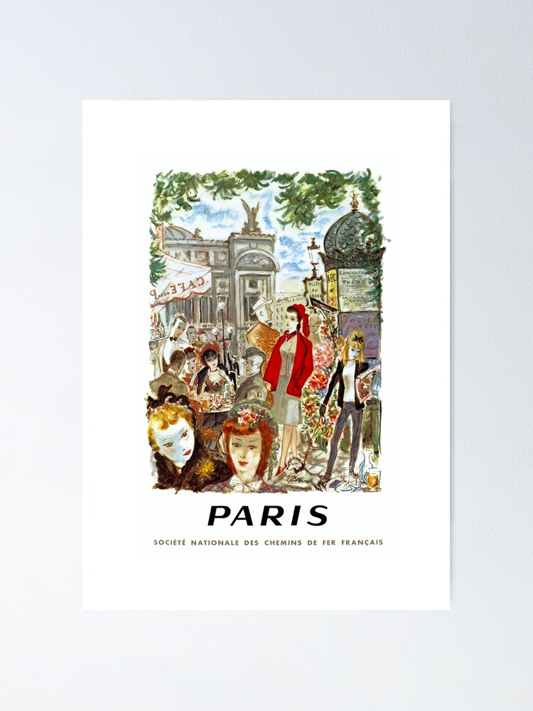Alternate view of 1962 PARIS French National Railways Travel Poster Poster