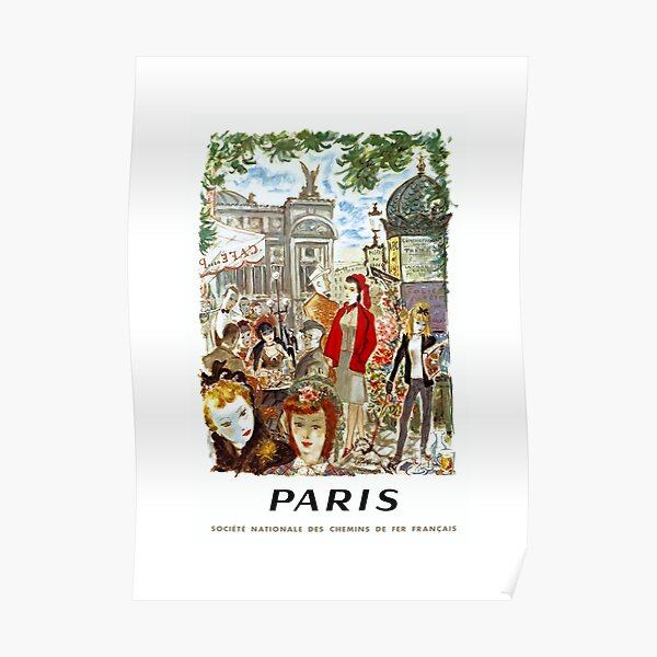 1962 PARIS French National Railways Travel Poster Poster