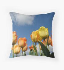 Orange Tulip Flowers art prints Spring Tulips Throw Pillow