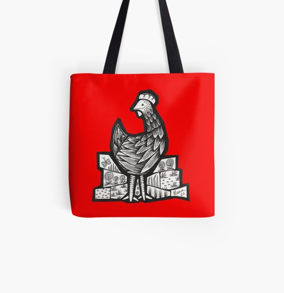 Happy Hen mosaic illustration All Over Print Tote Bag