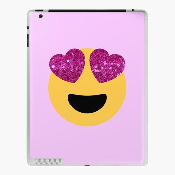 glitter print heart eye emoji iPad Skin