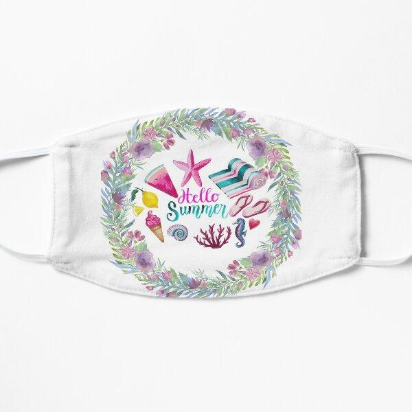 Hello Summer Designed For Summer Season, Floral Design Flat Mask