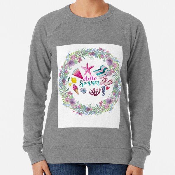 Hello Summer Designed For Summer Season, Floral Design Lightweight Sweatshirt