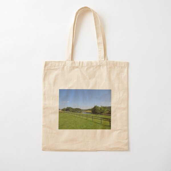 Merch #90 -- Stream Beyond The Fenced Field (Hadrian's Wall) Cotton Tote Bag