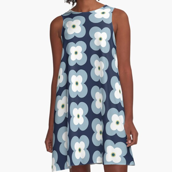 Mod Blossoms - Navy and French Blue A-Line Dress