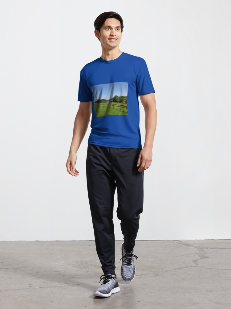 Alternate view of M.I. #90 |☼| Stream Beyond The Fenced Field (Hadrian's Wall) Active T-Shirt