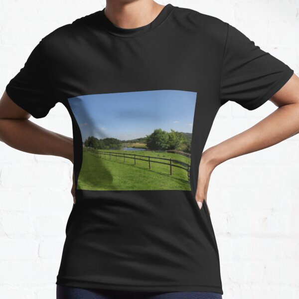 Merch #90 -- Stream Beyond The Fenced Field (Hadrian's Wall) Active T-Shirt