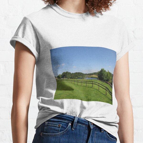 Merch #90 -- Stream Beyond The Fenced Field (Hadrian's Wall) Classic T-Shirt
