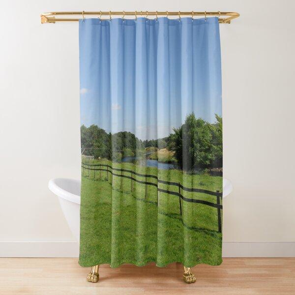 Merch #90 -- Stream Beyond The Fenced Field (Hadrian's Wall) Shower Curtain