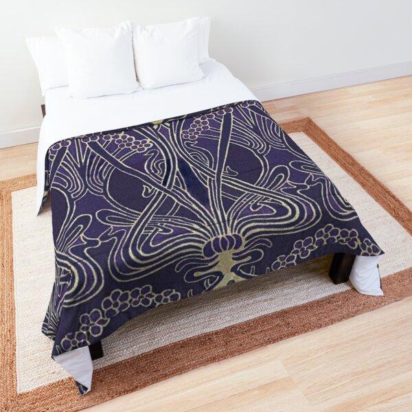 Art Nouveau Icon in Purple Comforter