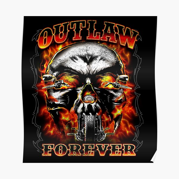 Texas Outlaw Choppers Motorcycles Cowboy Skull Cross Snake Flames Design Poster