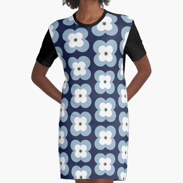 Mod Blossoms - Navy and French Blue Graphic T-Shirt Dress