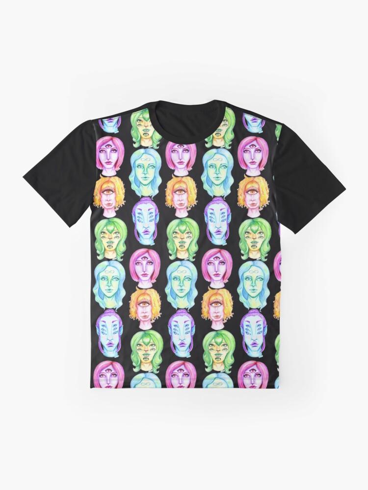 Alternate view of Rainbow of Beautiful Monsters Graphic T-Shirt
