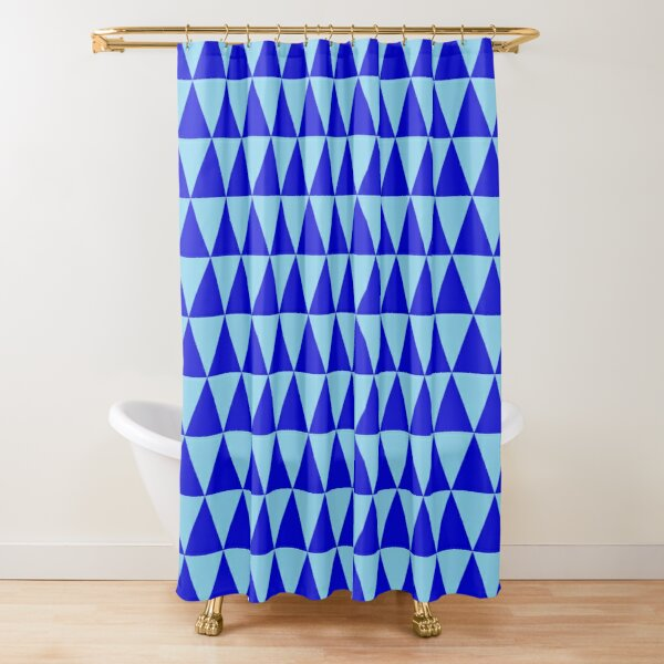 Blue Triangles Shower Curtain