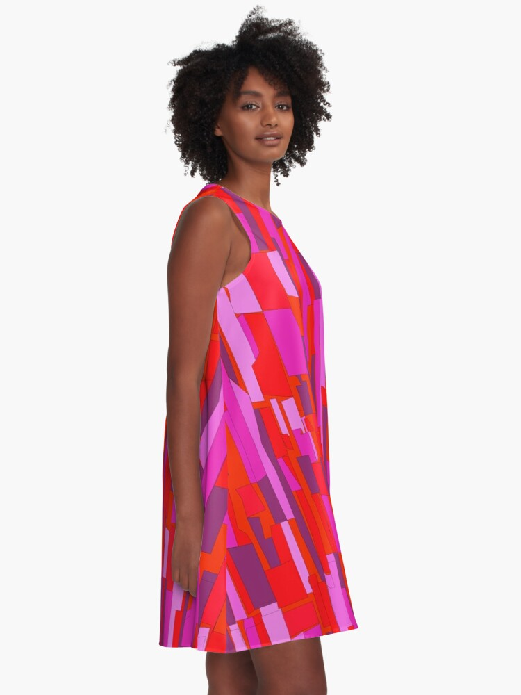 Alternate view of Retro 60s Crackle Glass Pattern, Party Disco A-Line Dress