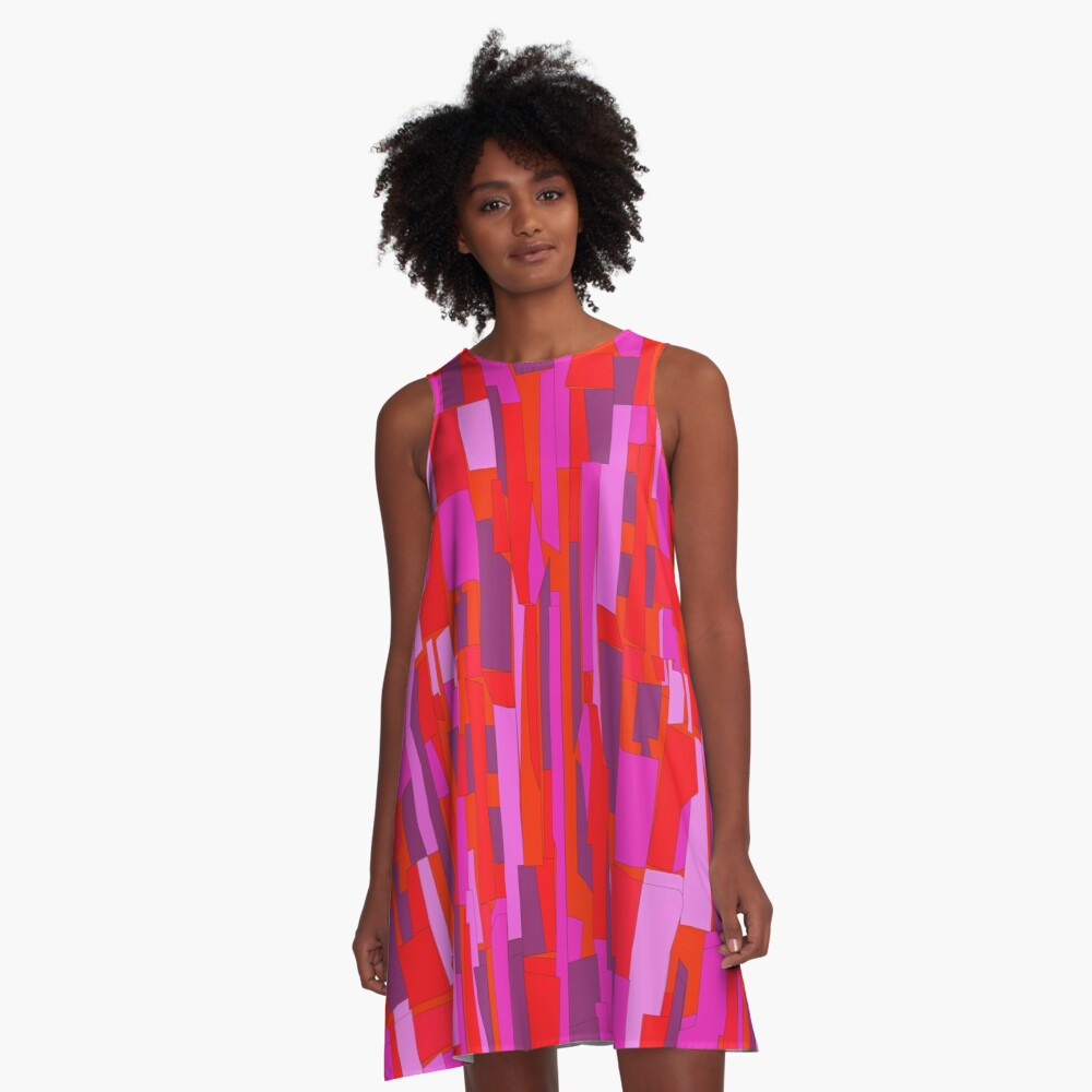 Retro 60s Crackle Glass Pattern, Party Disco A-Line Dress
