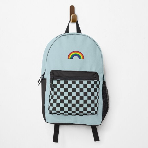 Pastel Blue Black Rainbow Checkers Backpack