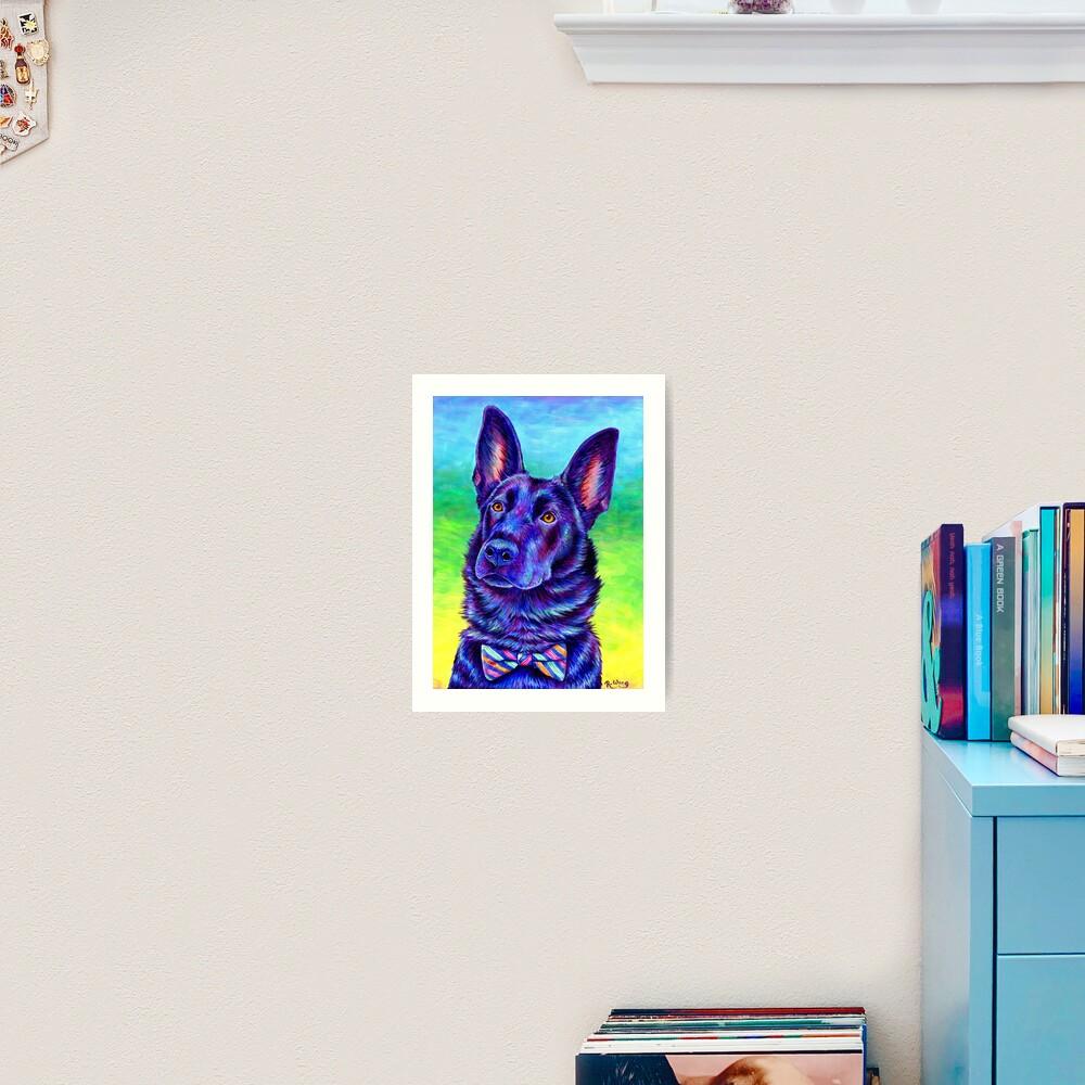 Colorful Black German Shepherd Dog Art Print