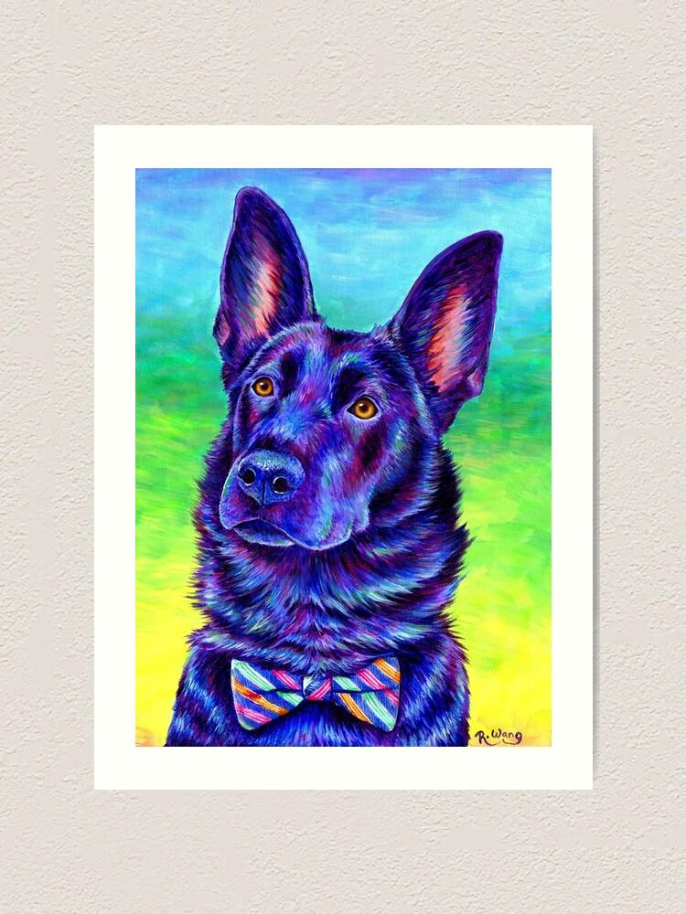 Alternate view of Colorful Black German Shepherd Dog Art Print