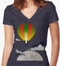 Picnic in a Balloon on the Moon Women's Fitted V-Neck T-Shirt