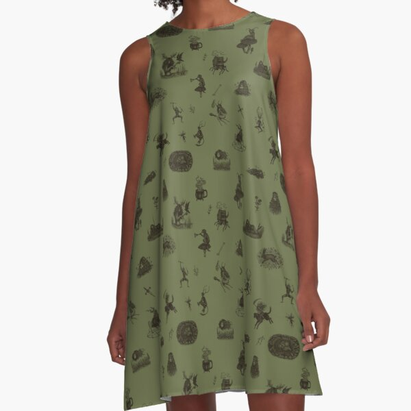 Folk Horror in green A-Line Dress
