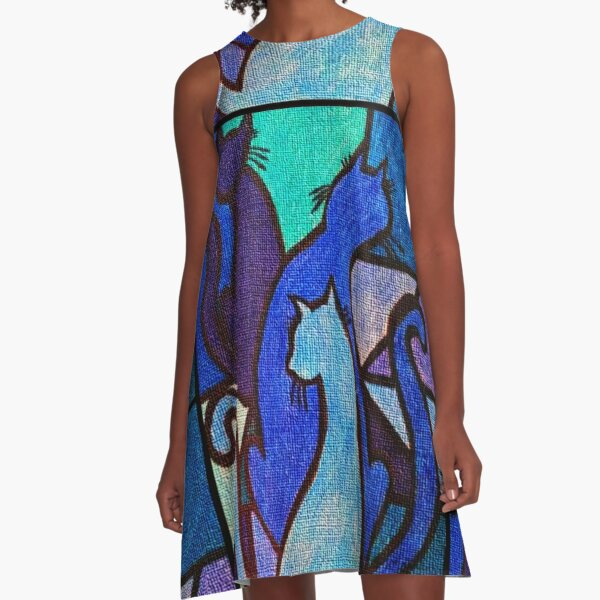 Three Blue Cats A-Line Dress