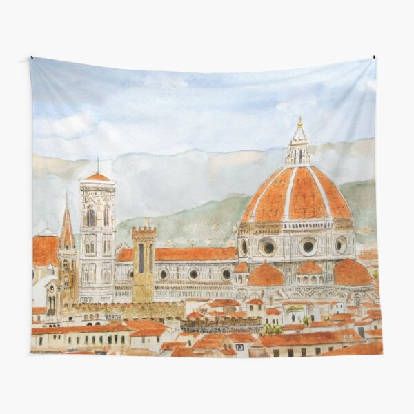Italy Florence Cathedral Duomo watercolor painting with background Tapestry