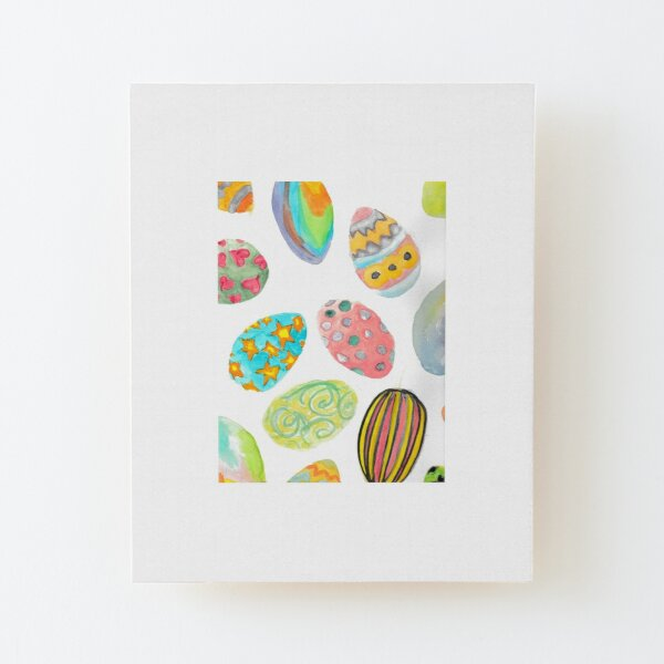 Watercolour Easter Eggs  Wood Mounted Print