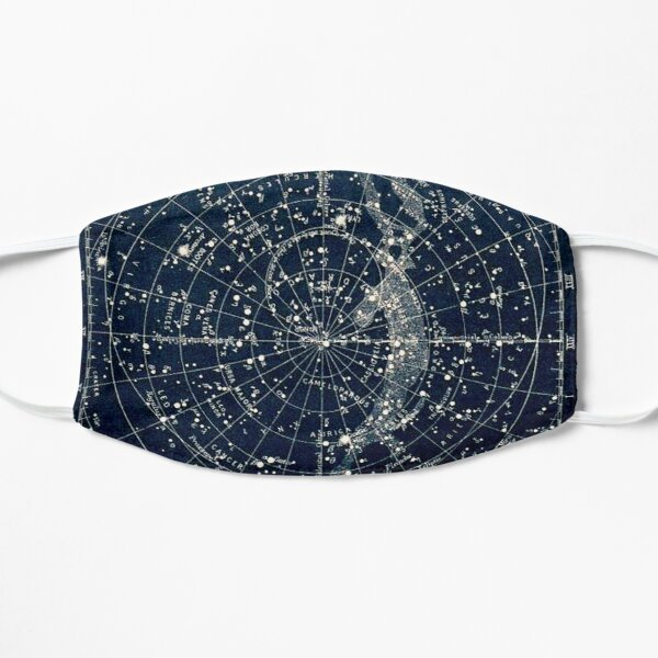 THE STAR CONSTELLATIONS : Vintage 1900 Galaxy Print Flat Mask