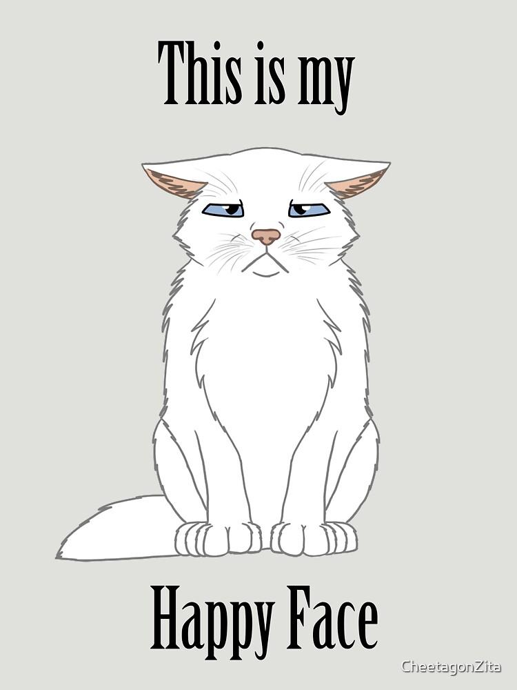 Happy Face - White Cat by CheetagonZita