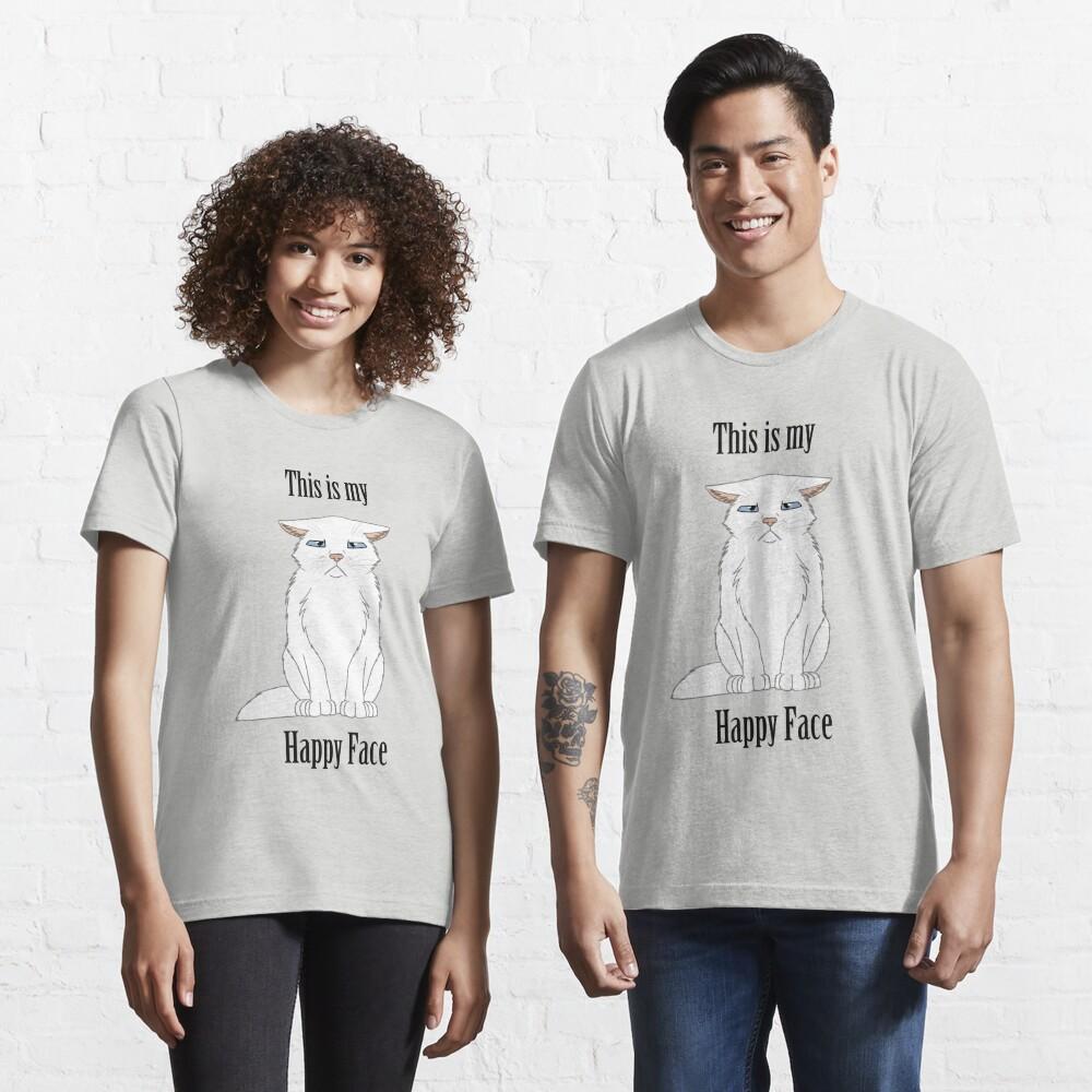 Happy Face - White Cat Essential T-Shirt