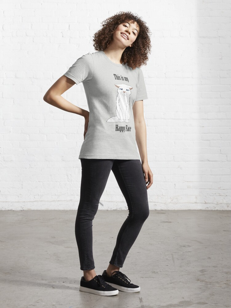 Alternate view of Happy Face - White Cat Essential T-Shirt