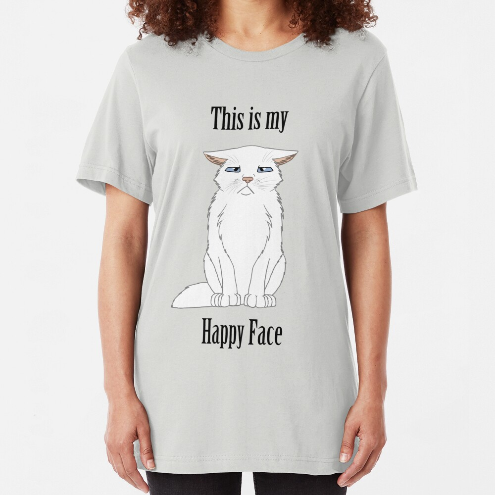 Happy Face - White Cat Slim Fit T-Shirt