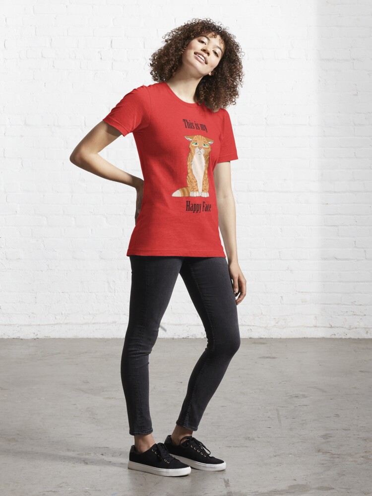 Alternate view of Happy Face - Golden Tabby Cat Essential T-Shirt