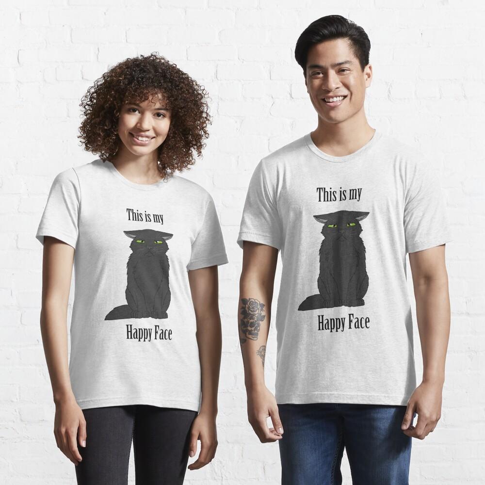 Happy Face - Black Cat Essential T-Shirt