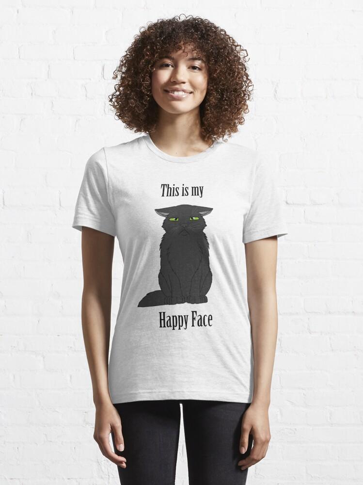 Alternate view of Happy Face - Black Cat Essential T-Shirt