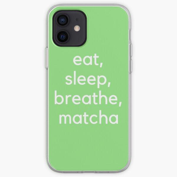 Eat, Sleep, Breathe, Matcha (White) iPhone Soft Case