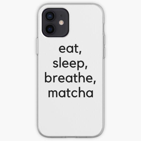 Eat, Sleep, Breathe, Matcha (Black) iPhone Soft Case